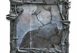 """Engelsüß. Zum Gedicht """"Erst jenseits der Kastanien ist die Welt"""" von Paul Celan. Mixed media auf Holzplatte, ca. 65x65 cm. 2020/21DSC_0066-2_bearbeitet_HG-weiss"""